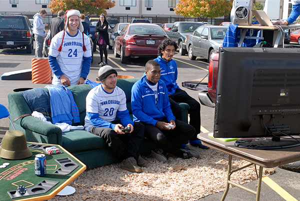 The men's soccer team won the Tailgate Competition with a well-stocked playground of video games, music, food, poker ...