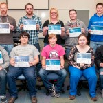 Penn College students show their industry certifications for computer aided drafting and design software programs. Front row, from left: Jesse C. Hulien, of Hughesville; Kyle T. Potts, of Colver; Meriah B. Port, of Bellefonte, Shannon R. Knarr, of Trevorton; and Aaron C. Smith, of Ulster. Back row, from right: Rory J. Moon, of Knoxville; Ian M. Dorman, of Mill Hall; Angela J. Bolinger, of Galena, Md.; Kevin G. Kearney, of Lebanon; and Elias W. Diehl, of Newville.