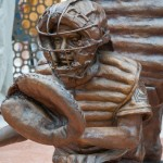"Co-sponsored by Penn College, the catcher is one of 10 life-sized bronze statues created by Utah artist Matt Glenn for the ""Bases Loaded"" project."