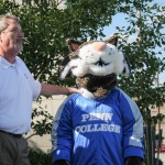 """With moral support from the Wildcat, vice president for academic affairs/provost Paul L. Starkey issues the """"ice bucket challenge"""" to the office of Lycoming College President Kent Trachte."""
