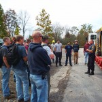 Trooper Beaver talks with diesel technology majors and students in the Commercial Driver's License preparatory course.