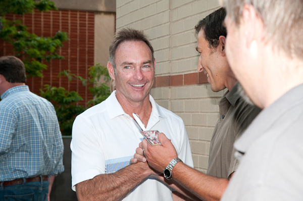 Paul Molitor talks with fans on the Arts Center balcony, after a television interview on WVIA.