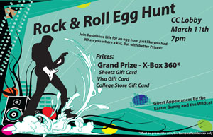 Michael C. Snyder's prize-winning poster for the Rock %E2%80%99n%E2%80%99 Roll Egg Hunt.