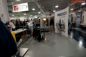 Representatives from Seco Tooling provide demonstrations in Pennsylvania College of Technology%E2%80%99s automated manufacturing lab during Haas Automation%E2%80%99s Pennsylvania Haas Technical Education Center CNC Technology Training Conference.