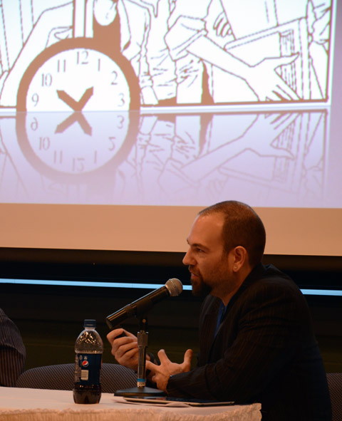 "Barry Lyga, one of the panelists fora discussion of ""Comics Editors: A Critical Element."""