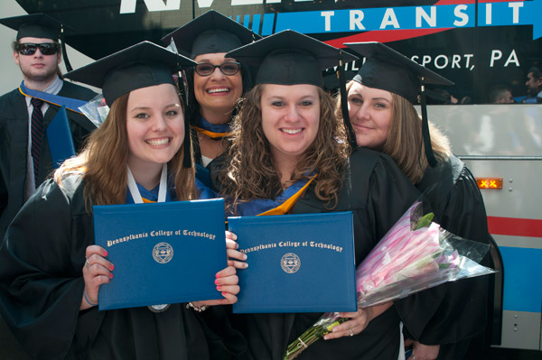 Brand-new nursing graduates gather following the ceremony.
