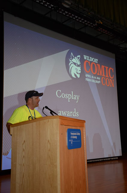 "With a ""Thank you"" to sponsors, presenters and the Penn College hosts of Wildcat Comic Con, John Shableski begins the closing ceremonies."