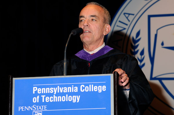 State Rep. Garth Everett, R-Muncy, a member of the Penn College Board of Directors, joins in the conferral of degrees and certificates upon graduates.