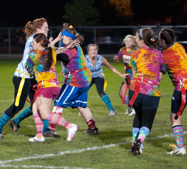 Spirited competition marks Friday's Homecoming Powder Puff Football game, won 28-7 by the freshmen team.
