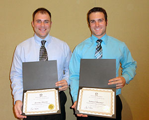 Awarded scholarships from the Pennsylvania Landscape & Nursery Association Foundation are Jeremy L. Thorne, of Sugarloaf, left, and Samuel W. Hanmer, of Harrisburg. Both are landscape/horticulture technology: landscape emphasis majors at Pennsylvania College of Technology. (Photo by Carl J. Bower Jr., horticulture instructor)