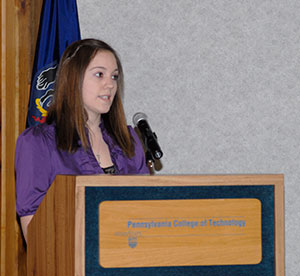 Rebecca R. Miller, chapter president, welcomes the newest members and urges them to continue their campus involvement.