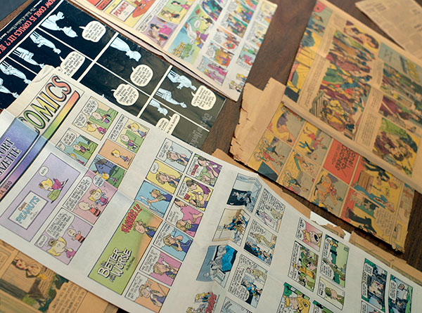 A display of comics lays the groundwork for presenter David S. Sims ...