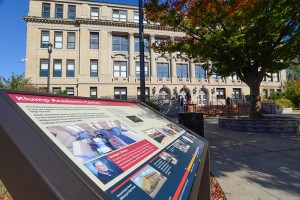 A marker in front of Penn College's Klump Academic Center, the former Williamsport High School, highlights historical and current activities in the building. It is one of 17 such markers delineating a new History Trail on campus.