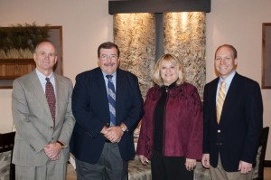From left, Barry R. Stiger, vice president for institutional advancement, Penn College; Paul H. Rooney Jr.; Tacie Rooney; and Robb Dietrich, executive director of the Penn College Foundation.