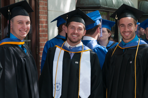 Waiting in line for the Saturday morning commencement to start, '14 graduates are all smiles.