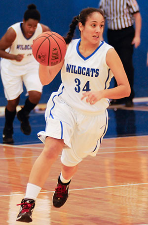 Nicole Reyes-Molina, a student from Lancaster, seen here in action for the Wildcat women's basketball team, was profiled in a Penn College video that earned a Telly Award.