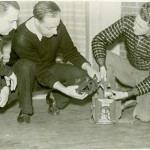 Williamsport Technical Institute students examine a gas mask, circa 1941.