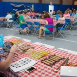 Crissy L. McGinniss, director of dining services, doubles as bingo caller.