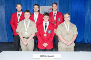 Penn College's Matthew R. Bean (back row, far left), of McElhattan, was a silver medalist in the CNC Milling Specialist category.