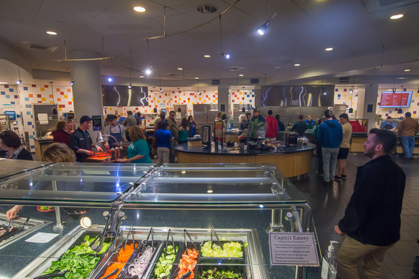 Visitors explore the colorful, nutritional offerings in Capitol Eatery.
