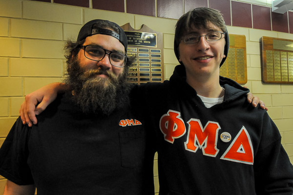 Phi Mu Delta brothers, in Greek Life solidarity, at the Campus Life Involvement Fair.
