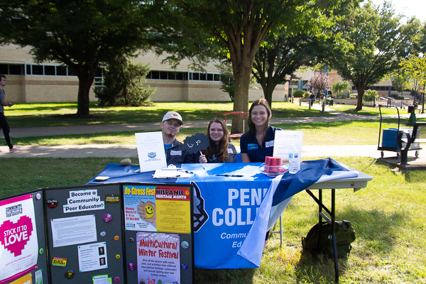 Exhibiting the very definition of student involvement are (from left) Community Peer Educators Colin J. Jens (also a Wildcat wrestler), Katherine A. Downes and Alexis R. Price.