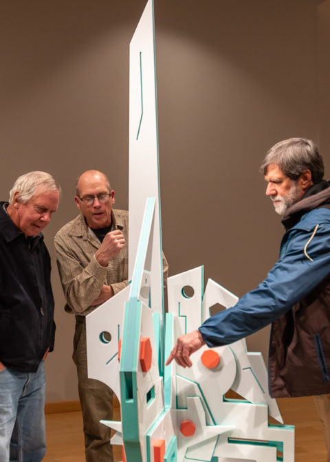 Roger D. Shipley (left), an emeritus professor of art at Lycoming College, joins Penn College art faculty David A. Stabley (center) and Keith A. Vanderlin.