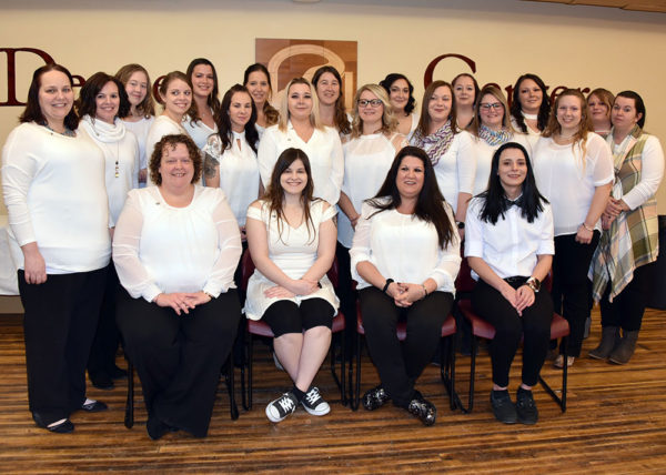 Twenty-two area residents, representing cohorts from Coudersport and Wellsboro, recently graduated from Penn College at Wellsboro's practical nursing program. Front row (seated, from left): Tonya Gail, Kelcee Kilpatrick, Kathi Crooks and Shyana Miller. Back row (from left): Rena Brown, Heather DeHaven, Courtney Watkins, Lindsay Brown, Susan Lenker, Amanda Hand, Cindy Weidler, Emily Bastion, Leanne McIntyre, Lacey Boyd, Heather Crowley, Rachelle Weimer, Melissa Hartman, Autumn Jackson, Meagan Knapp-Moore, Katie Thomas, Julie Conner and Jessica Smith.