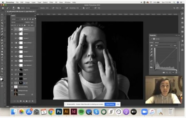 """Graphic design junior Ashley Tate, of Lewisburg, offers advice on nondestructive burning and dodging in Photoshop (featuring an image of Alexandra """"Ali"""" D. Petrizzi, a senior in the major)."""
