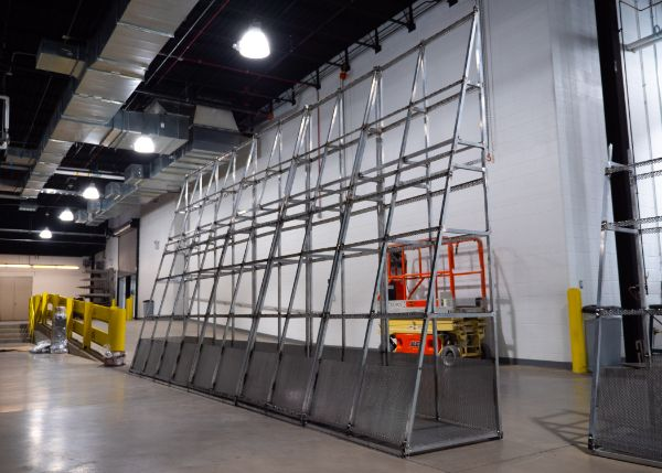 With the rest of the campus idle for Winter Break, the walls for the Living Chapel begin to take shape.