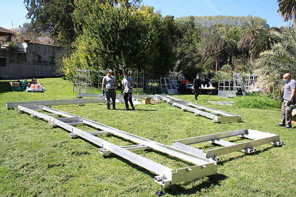 """The """"footprint"""" for the Living Chapel begins to take shape. The structure is approximately 45 feet long by 30 feet wide."""