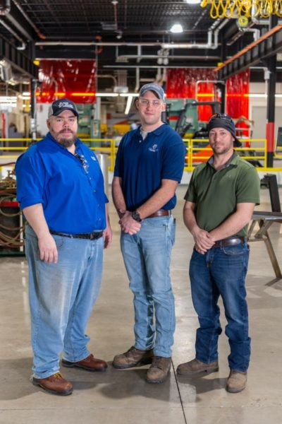 The lead Penn College welding faculty for the project are, from left, Jacob B. Holland, Cody W. Wolfe and James N. Colton.