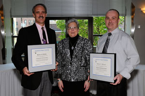 From left, Robert O. Rolley Jr., recipient of the Distinguished Alumnus Award at Pennsylvania College of Technology%E2%80%99s May 15 commencement ceremony%3B Penn College President Davie Jane Gilmour%3B and Robert V. Blauser, recipient of the Alumnus Achievement Award.