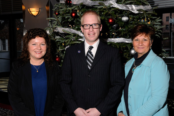 Alumni honoree Brian M. Webster with Sharon K. Waters, dean of health sciences (left), and Diane L. Smith, assistant director of nursing