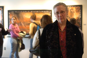 Rosemarie Bernardi, at the April 4 opening of her Penn College exhibit,